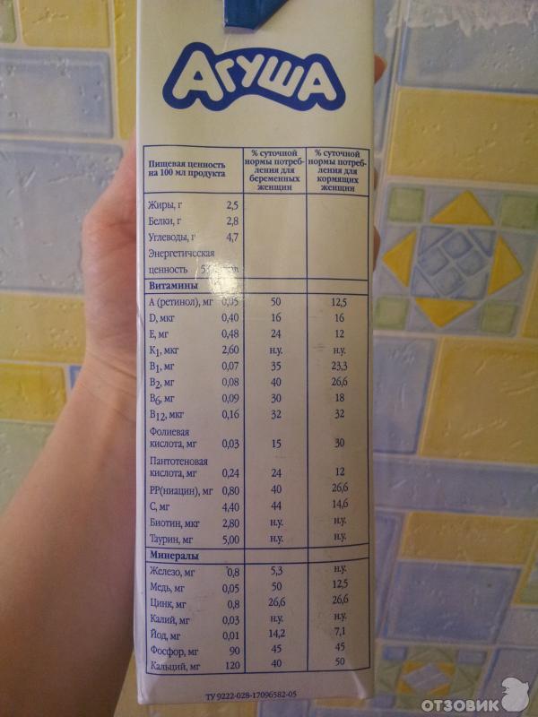 Молоко агуша 1 литр 2.5 для беременных цена 18