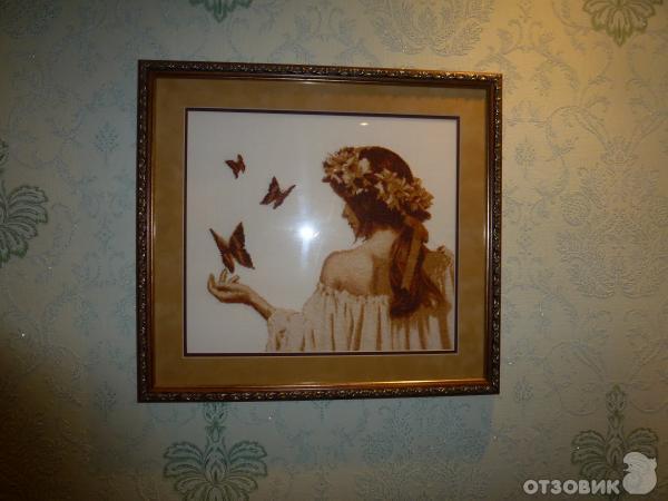 вышивка Девушка с бабочками