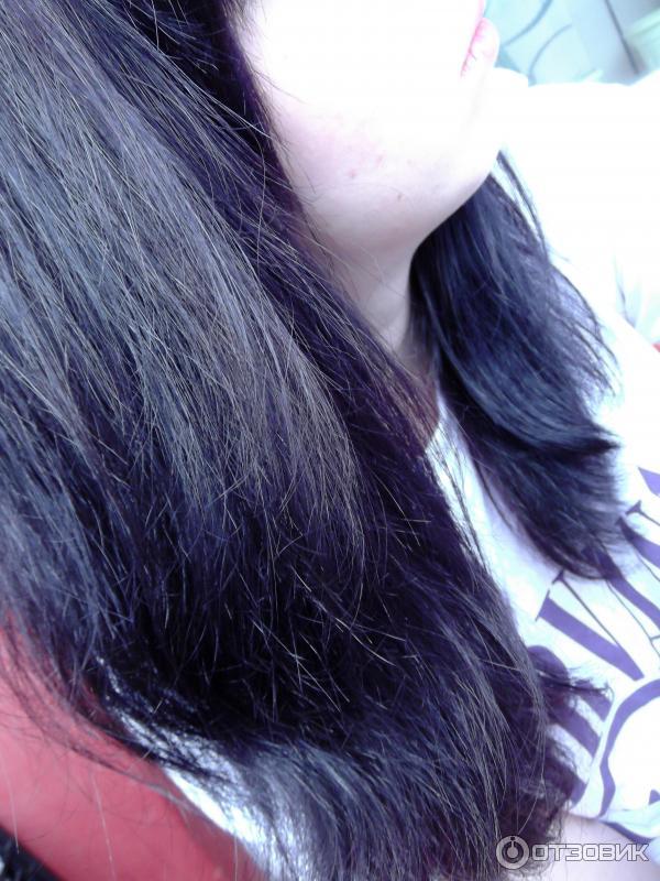 тоник баклажан на темных волосах