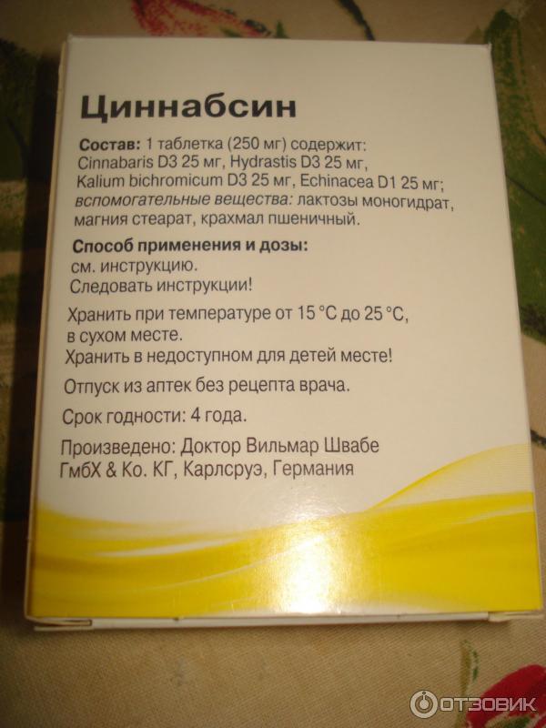 инструкция к применению циннабсин