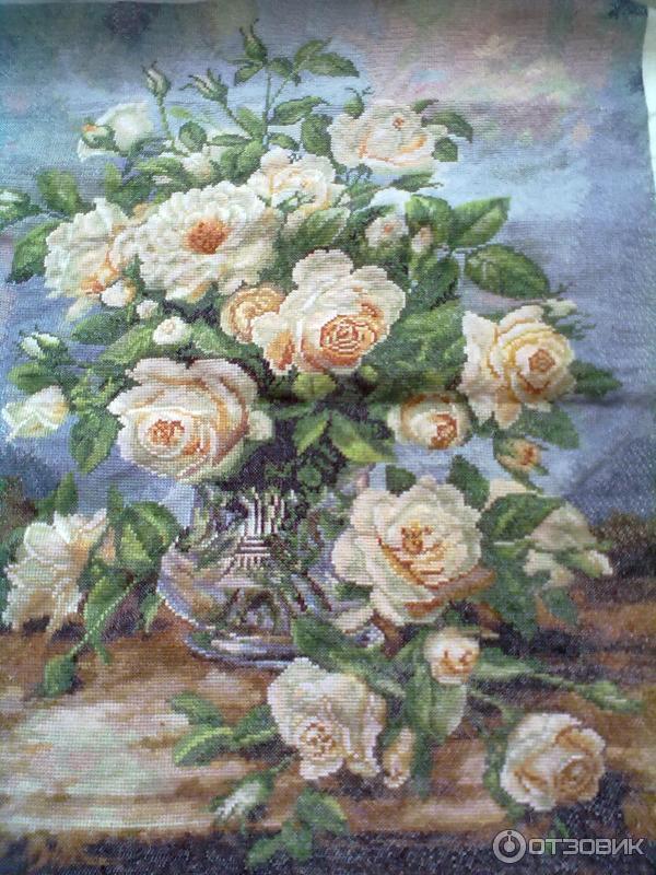 Букет из белых роз вышивка золотое руно схема