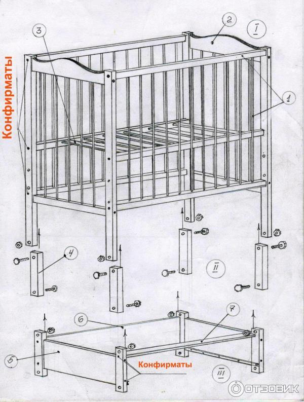 схема сборки кроватки