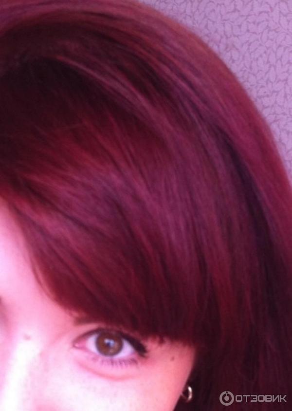 Тоник бордо на русых волосах
