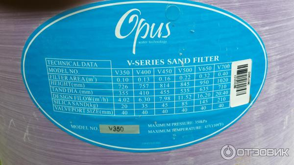 Характеристики песочного фильтра