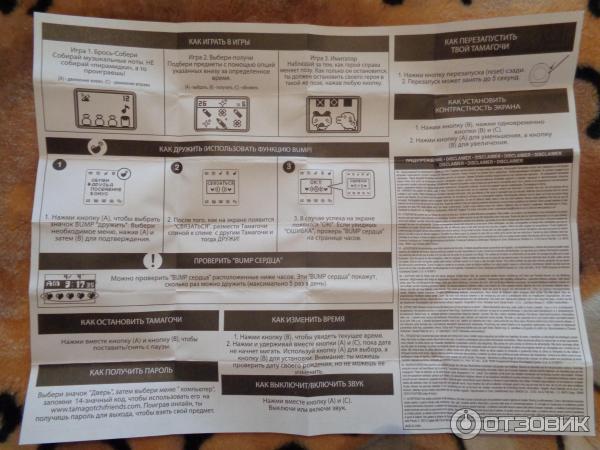 инструкция тамагочи на русском