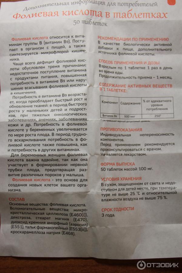Фолиевая кислота для беременных инструкция по применению 201