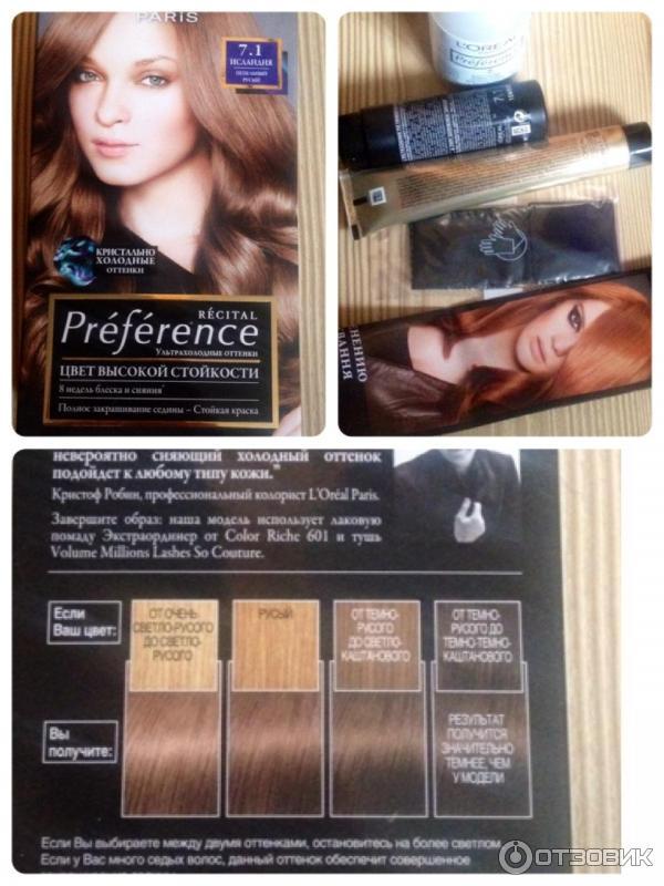 Loreal preference краска для волос 7.1 исландия
