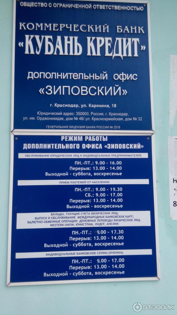 кубань кредит банк офисы краснодар